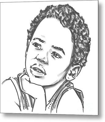 Metal Print featuring the drawing African Boy by Olimpia - Hinamatsuri Barbu
