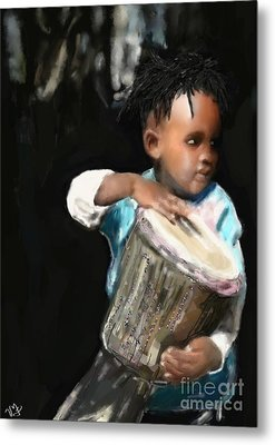 African Drummer Boy Metal Print
