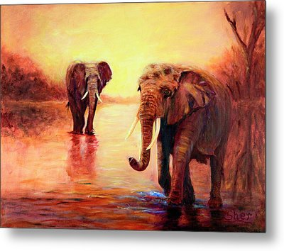 African Elephants At Sunset In The Serengeti Metal Print by Sher Nasser