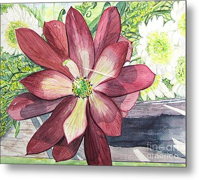 Metal Print featuring the painting African Flower by Carol Flagg
