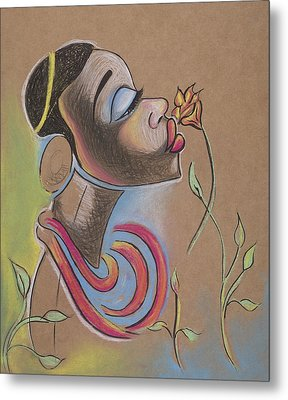 African Girl Metal Print by Chibuzor Ejims