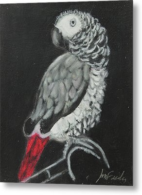 Metal Print featuring the painting African Grey by Jeanne Fischer