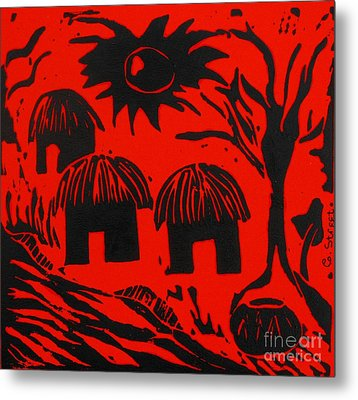 African Huts Red Metal Print by Caroline Street