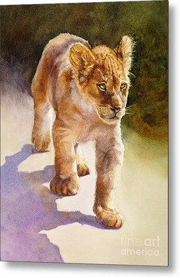 Metal Print featuring the painting African Lion Cub by Bonnie Rinier