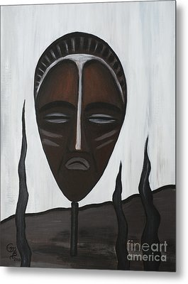African Mask II Metal Print by Eva-Maria Becker