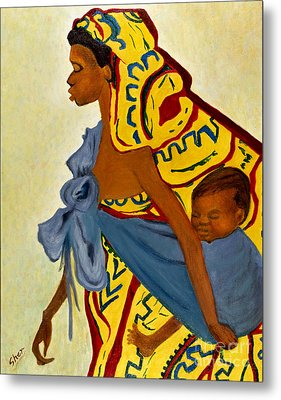 African Mother And Child Metal Print by Sher Nasser