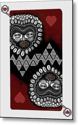African Queen-of-hearts Card Metal Print by Carol Jacobs