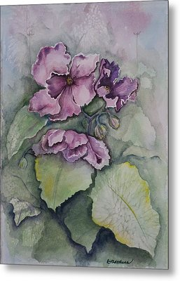 Metal Print featuring the painting African Violets by Rebecca Matthews