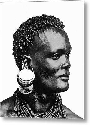 African With Jam Pot Ear Piercing Metal Print by Frank G Carpenter