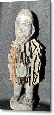 African Wood Carving With Nail Fetish Metal Print by Anonymous