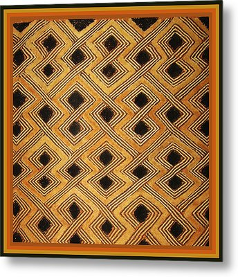 Metal Print featuring the digital art African Zaire Congo Kuba Textile by Vagabond Folk Art - Virginia Vivier