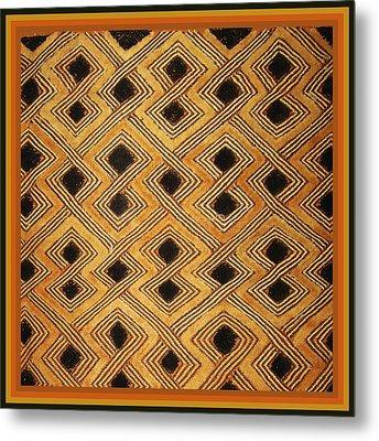 African Zaire Congo Kuba Textile Metal Print