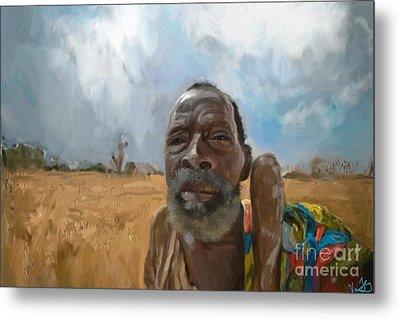 Metal Print featuring the mixed media Afrikan Bushman by Vannetta Ferguson