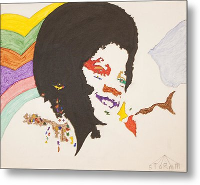 Metal Print featuring the painting Afro Michael Jackson by Stormm Bradshaw