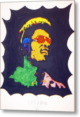 Metal Print featuring the painting Afro Stevie Wonder by Stormm Bradshaw