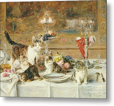 After Dinner Guests Metal Print by Louis Eugene Lambert