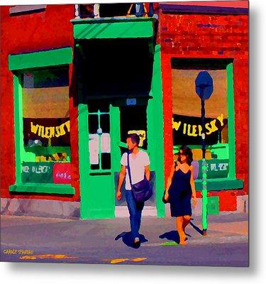 After Lunch At Wilenskys Restaurant Crossing Fairmount Montreal Street Scene Art Carole Spandau Metal Print by Carole Spandau