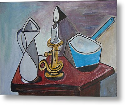 After Picasso Still Life With Casserole Metal Print by Veronica Rickard