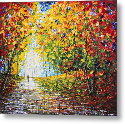 Metal Print featuring the painting After Rain Autumn Reflections Acrylic Palette Knife Painting by Georgeta Blanaru