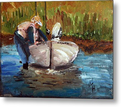Metal Print featuring the painting After The Fish by Michael Helfen