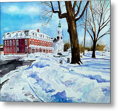 After The Grafton Common Snow Metal Print