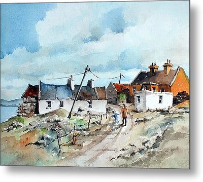 Afternoon Stroll In Dugort Achill Metal Print by Val Byrne