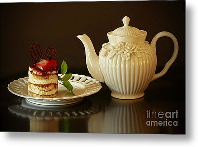 Afternoon Tea And Tiramisu Metal Print by Inspired Nature Photography Fine Art Photography
