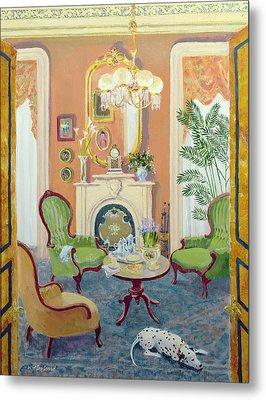 Afternoon Tea Oil On Board Metal Print by William Ireland