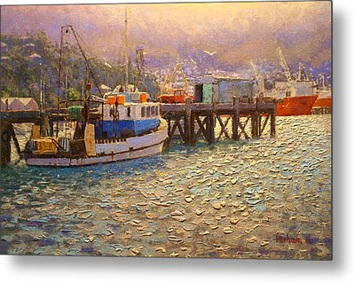 Against The Light Lyttleton Harbour Metal Print