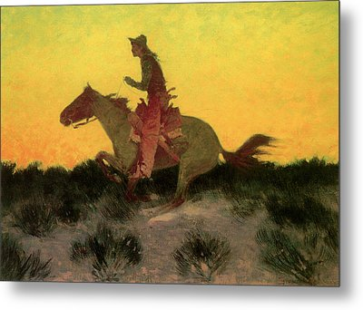 Against The Sunset Metal Print by Frederic Remington