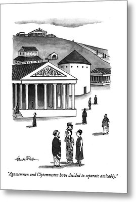 Agamemnon And Clytemnestra Have Decided Metal Print by J.B. Handelsman
