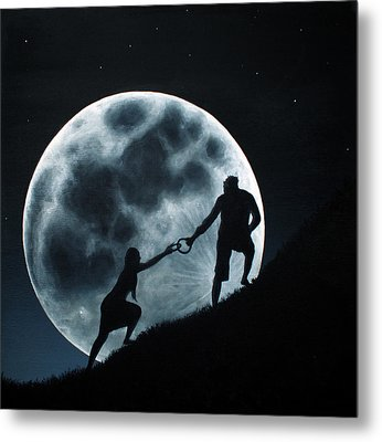Metal Print featuring the painting Agape Under A Full Moon Rising by Ric Nagualero