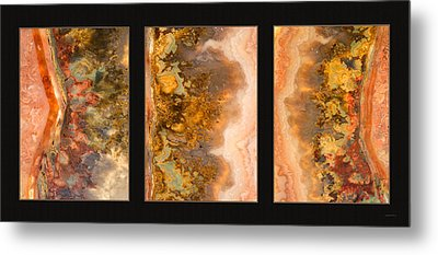 Agate Triptych 2 Metal Print by Leland D Howard