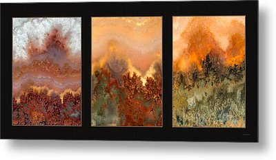Agate Triptych 3 Metal Print by Leland D Howard