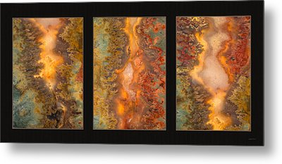 Agate Triptych 6 Metal Print by Leland D Howard