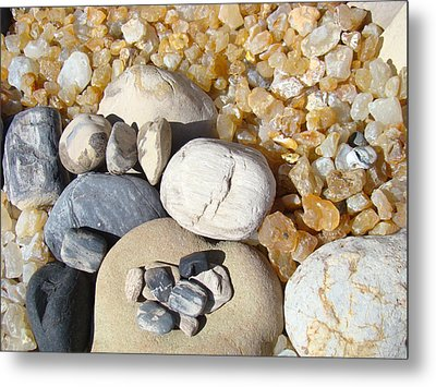 Agates Rocks Art Prints Petrified Wood Fossils Metal Print by Baslee Troutman