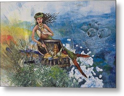 Agean Sea Mermaid Metal Print by Nancy Gorr