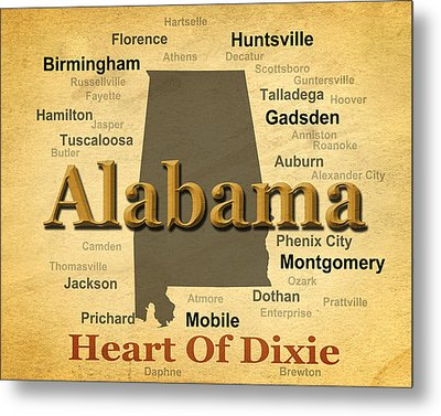 Aged Alabama State Pride Map Silhouette  Metal Print by Keith Webber Jr