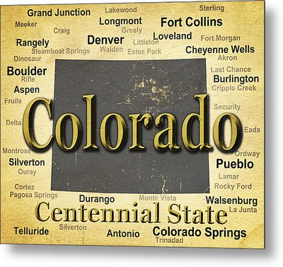 Aged Colorado State Pride Map Silhouette  Metal Print by Keith Webber Jr