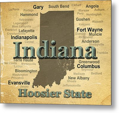 Aged Indiana State Pride Map Silhouette  Metal Print by Keith Webber Jr