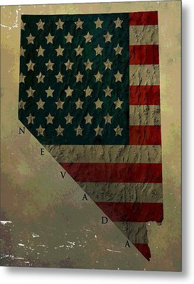 Aged Topographic Map Of Nevada Metal Print
