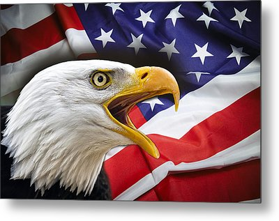 Aggressive Eagle And United States Flag Metal Print