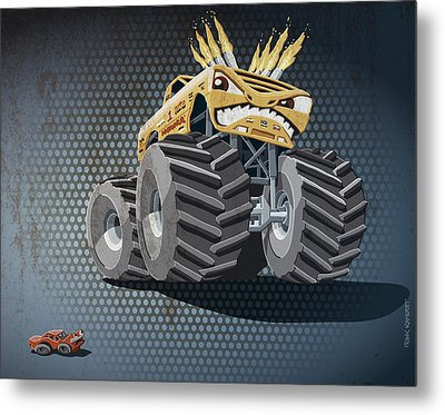 Aggressive Monster Truck Grunge Color Metal Print