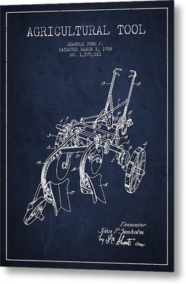 Agricultural Tool Patent From 1926 - Navy Blue Metal Print