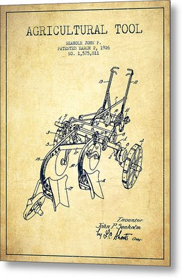 Agricultural Tool Patent From 1926 - Vintage Metal Print by Aged Pixel