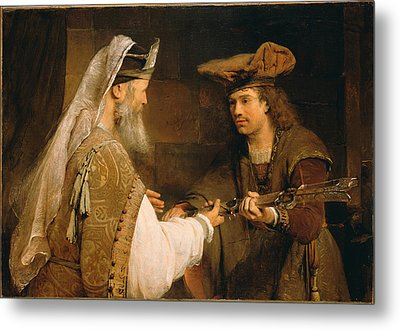Ahimelech Giving The Sword Of Goliath To David  Metal Print by Aert de Gelder