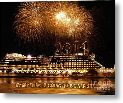 Metal Print featuring the photograph Aida Cruise Ship 2014 New Year's Day New Year's Eve by Paul Fearn