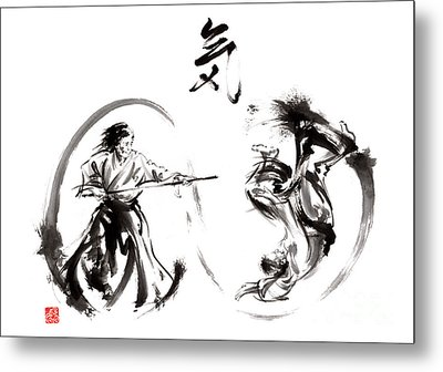 Aikido Federation Show Double Enso Fight Line Circle Painting Metal Print by Mariusz Szmerdt
