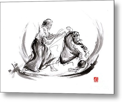 Aikido Fight Scenery Martial Arts Drawing Painting Sketch Art Draw Japan Japanese School Metal Print by Mariusz Szmerdt