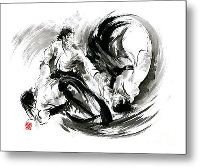 Aikido Randori Fight Popular Techniques Martial Arts Sumi-e Samurai Ink Painting Artwork Metal Print